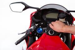 Röd sportcykel Royaltyfri Bild