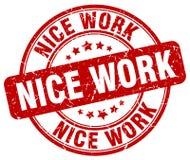 Röd stämpel för trevligt arbete stock illustrationer
