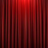Röd stängd gardin royaltyfri illustrationer