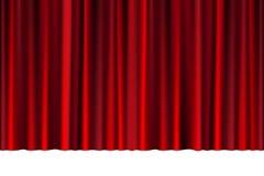 Röd stängd gardin i en teater eller en ceremoni för din design Draperad scenisk plats som isoleras på vit vektor stock illustrationer
