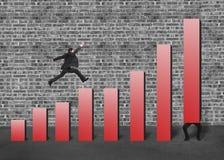 Röd stång för affärsmanelevator en och en annan banhoppning på diagram Arkivbild