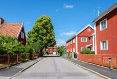 Röd stad i Norrkoping, Sverige Royaltyfri Fotografi