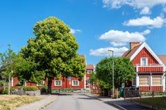 Röd stad i Norrkoping, Sverige Arkivbilder