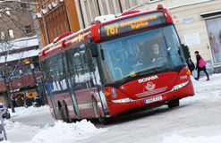 Röd stadsbuss Arkivfoto