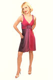 röd standing för blond lady för klänning 12 Royaltyfri Fotografi