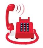 Röd stationär telefon med knapptangentbordet och den lyftta telefonluren Royaltyfria Bilder