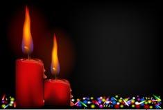 Röd stearinljus med LETT ljus Arkivbild
