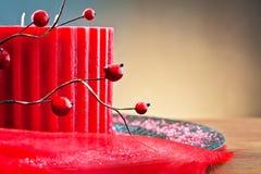 röd stearinljusjul royaltyfria bilder