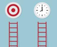Röd stege som ska uppsätta som mål, och tid, affärsidé Royaltyfri Bild
