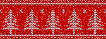 Röd sticka sömlös modellbakgrund med julträd vektor illustrationer