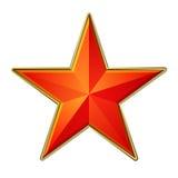 Röd stjärna med den guld- ramen Royaltyfria Bilder
