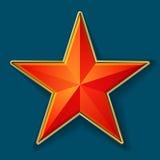 Röd stjärna med den guld- ramen Fotografering för Bildbyråer
