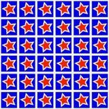 Röd stjärna på blåttmodellbakgrund Royaltyfria Foton