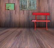 Röd stol i gammalt trärum Fotografering för Bildbyråer