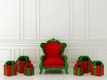 Röd stol med gåvor royaltyfri fotografi