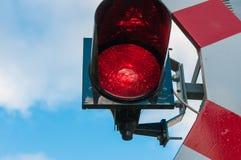 Röd stopplampa för järnväg arkivbild