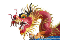 Röd stor drakestaty på vit bakgrund royaltyfri bild