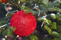 röd stor jul för boll Arkivfoton