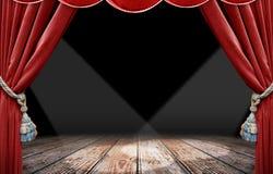 röd strålkastare för gardin Royaltyfri Foto