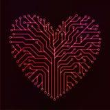 Röd strömkretshjärta Arkivfoto