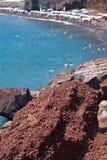 Röd strand - den Santorini ön - Grekland Fotografering för Bildbyråer