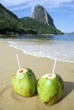 Röd strand Rio de Janeiro för brasilianska CocoGelado kokosnötter Arkivbilder