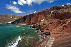 Röd strand, Santorini Royaltyfri Bild