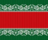 Röd stucken jul och grön bakgrund Sömlös geometrisk rät maskaprydnad royaltyfri illustrationer