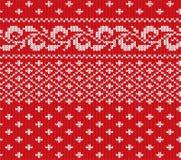 Röd stucken jul och vit blom- sömlös prydnad Design för textur för tröja för Xmas-rät maskavinter royaltyfri illustrationer
