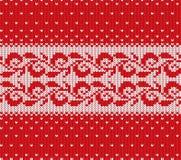 Röd stucken jul och vit blom- sömlös prydnad med fallande snö Design för textur för tröja för Xmas-rät maskavinter stock illustrationer