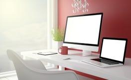 röd studio med den tomma skärmen för apparatsamling arkivfoto