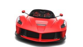 Röd Supercar - Front Studio View Arkivbild