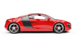 Röd Supercar - sidosikt Arkivbilder
