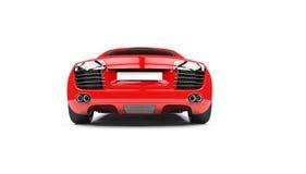 Röd Supercarbaksidasikt Arkivbild
