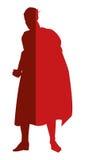 röd superheroe som poserar konturn stock illustrationer