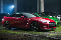 Röd-svart Nissan GT-R trimma Royaltyfria Foton