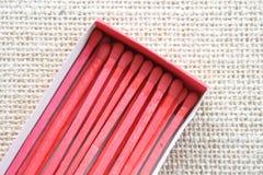 Röd tändsticksask Arkivbilder