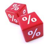 röd tärning för procentsats 3d Arkivbilder