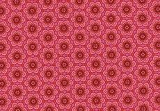 Röd tapet för blommamodell Royaltyfri Fotografi