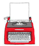 Röd tappningskrivmaskin med pappers- gullig målningillustratio Arkivfoto