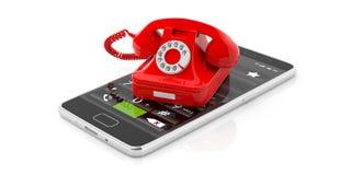 Röd tappningtelefon och modern smartphone som isoleras på vit bakgrund illustration 3d royaltyfri illustrationer