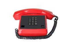 Röd tappningtelefonmottagare med svart kabel på den vita backgroen arkivfoton