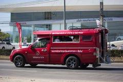 Röd taxi Chiang Mai Service i stad och omkring Royaltyfri Foto