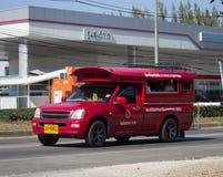 Röd taxi Chiang Mai Service i stad och omkring Arkivbild