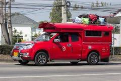 Röd taxi Chiang Mai Service i stad och omkring Arkivbilder