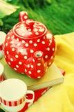 röd teapot Royaltyfria Foton