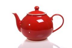röd teapot royaltyfri fotografi