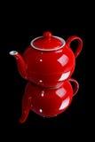 röd teapot arkivfoto
