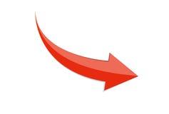 Röd teckensymbol för pil 3d Vektorillustration som isoleras på vit bakgrund arkivbild
