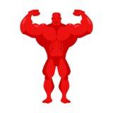 Röd tecknad film för kroppsbyggare Idrottsman nen med stora muskler Idrottsman på Royaltyfri Fotografi